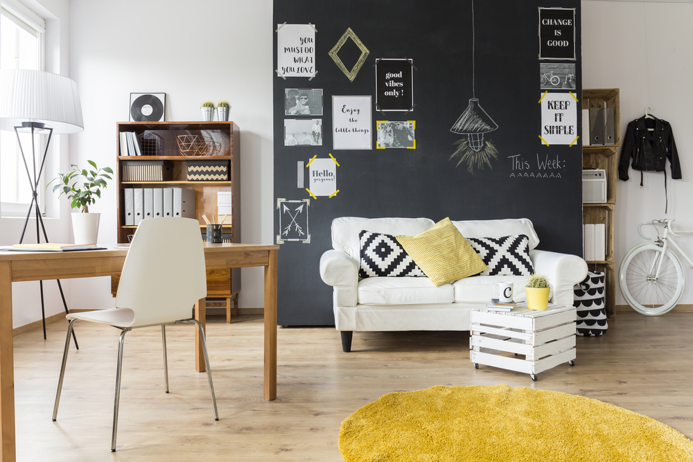 Living room with slogan wall art