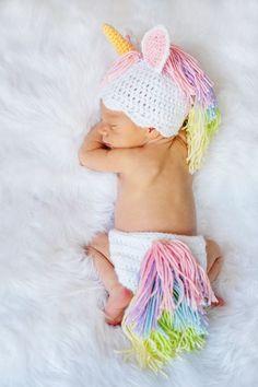 Crotcheted baby clothing unicorn
