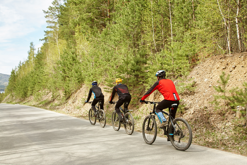 Group of cyclists outdoors