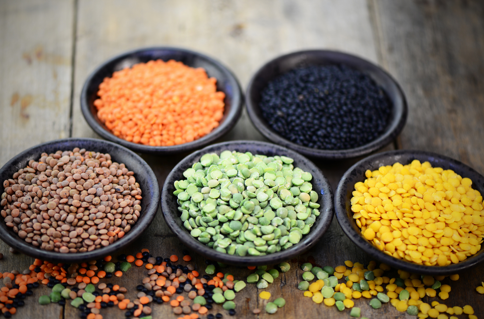 Assorted colorful lentils