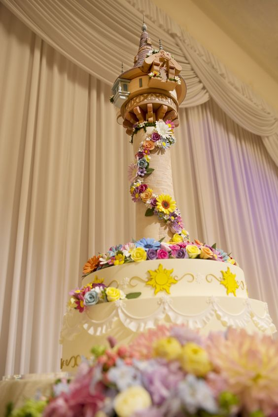 Disney Tangled theme wedding cake